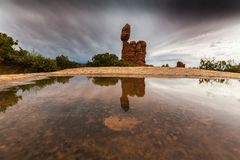 Dramatic Storm Clouds And Rain In Arches National Park Desert Stock Photography
