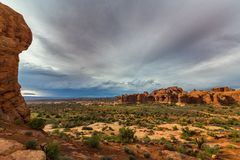 Dramatic Storm Clouds And Rain In Arches National Park Desert Royalty Free Stock Photos