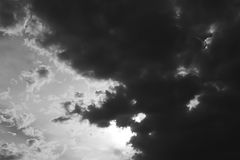 Dramatic storm Clouds in Black and white. Royalty Free Stock Photography