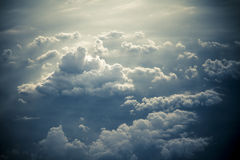 Dramatic storm clouds by overlooking Stock Photo