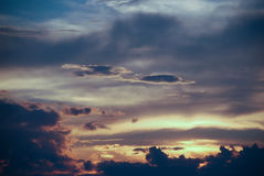 Dramatic storm sky and ominous clouds over lake. Beautiful colorful sky at sunset. Photo taken on: June , 2013 royalty free stock photos