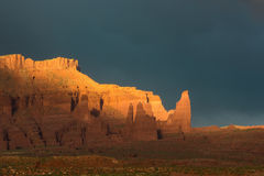 Dramatic storm at sunset in Canyon country of Southern Utah. Canyon country of Southern Utah during the storm at sunset Stock Photo
