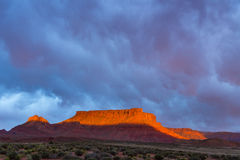 Dramatic storm at sunset in Canyon country of Southern Utah. Canyon country of Southern Utah during the storm at sunset Stock Photography