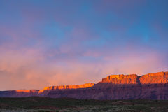 Dramatic storm at sunset in Canyon country of Southern Utah. Canyon country of Southern Utah during the storm at sunset Royalty Free Stock Photography