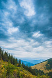 Dramatic stormy clouds over the valley Royalty Free Stock Photo