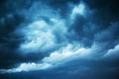 Dramatic stormy sky, dark clouds before rain. Weather, climate and meteorology background stock photos