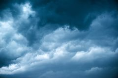 Dramatic stormy sky, dark clouds before rain stock photography