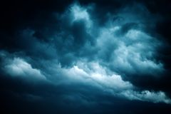 Dramatic stormy sky, dark clouds before rain. Weather, climate and meteorology background royalty free stock photo