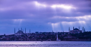 Dramatic stormy sky over  Istanbul, Turkey Stock Images