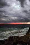 Dramatic stormy sky and the sea in the Crimea coast. Black Sea in the stormy weather. Bright and Dramatic marine landscape Stock Image