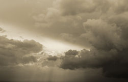 Dramatic stormy sky and sun rays Stock Image