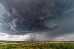 Dramatic stormy sky with supercell thunderstorm Stock Photo