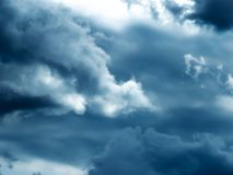 Dramatic stormy sky before thunderstorm stock photo