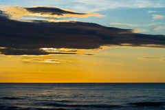 Dramatic stratus cloud formations at sunset over the Baltic sea. Gdansk Bay, Pomerania, northern Poland Stock Photography