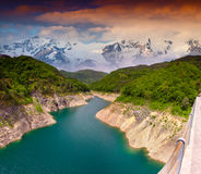 Dramatic summer landscape with the river in the mountains. Stock Image