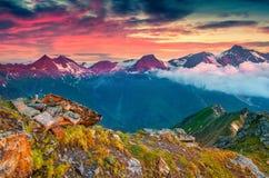 Dramatic summer sunrise on the Grossglockner mountain Stock Photo