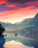 Dramatic summer sunrise on the Grundlsee lake. Stock Images