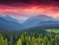 Dramatic summer sunrise in the italian Alps. Vigo Di Cadore, Italy, Europe Royalty Free Stock Images