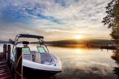 Dramatic Summer sunrise on lake Stock Photography