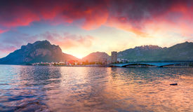 Dramatic summer sunrise in the Lecco Lake Royalty Free Stock Photos