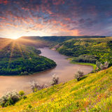 Dramatic summer sunrise near the river Royalty Free Stock Image