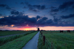 Dramatic summer sunrise over Dutch farmland with windmill Royalty Free Stock Images