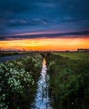 Dramatic sundown. Beautiful sunset in Finnish countryside Royalty Free Stock Photo
