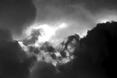 Dramatic of sunlight and storm clouds. Royalty Free Stock Photos