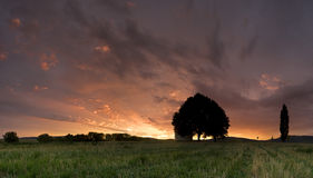 Dramatic sunrise. Dramatic sunset on the field royalty free stock images
