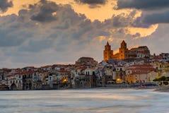 Dramatic sunrise in Cefalu, Sicily Stock Photography