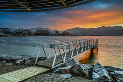 Dramatic sunrise at central beach of Eilat Royalty Free Stock Photo