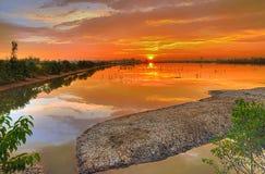 Dramatic sunrise colors Stock Images