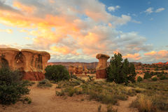 Dramatic sunrise in a desert setting. Desert scene with sunrise sky, Escalante, Utah, USA Stock Photos