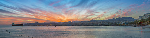 Dramatic sunrise at the harbour of Eilat, scenic panoramic view Royalty Free Stock Photo