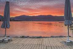 Dramatic sunrise at the northern beach of Eilat Stock Photos