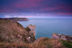 Dramatic sunrise over Atlantic ocean. Etretat, Normandy, France Stock Images