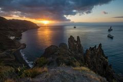 Dramatic sunrise over the Atlantic, Tenerife. Spain Stock Photography