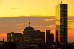 Dramatic sunrise over Boston Downtown. As seen from Cambridge Royalty Free Stock Image