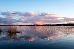 Dramatic sunrise over the calm river Royalty Free Stock Photo