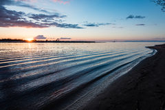 Dramatic sunrise over the calm river Stock Image