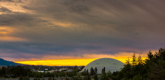 Dramatic sunrise over a football spors dome in Moscow Idaho Royalty Free Stock Photos