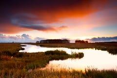 Dramatic sunrise over lake Royalty Free Stock Photography