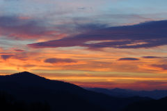 Dramatic Sunrise Over Mountains Royalty Free Stock Image
