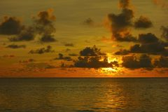 Dramatic sunrise over Pacific Ocean. Dramatic sunrise over the Pacific Ocean. Siargao Island, Philippines Stock Photo