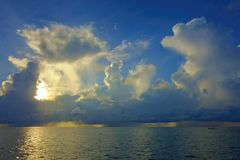 Philippine weather. Dramatic sunrise over the Pacific Ocean on the island of Siargao, Philippines Stock Images