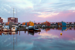 Dramatic sunrise over Reitdiephaven in Groningen Royalty Free Stock Images