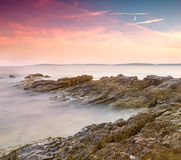 Dramatic sunrise over the sea Stock Images
