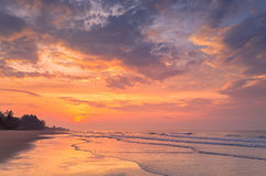 Dramatic Sunrise Over The Sea at Rayong Beach Stock Image