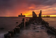 Free Dramatic Sunrise Over The Sea. Famous Place On The Baltic Coast, Beach Near The Old Torpedo Plant Stock Image - 186927021