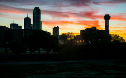 Dramatic Sunrise Pink Clouds Dallas Texas Dramatic Sunrise Margaret Hunt Hill Bridge and Reunion Tower Stock Photo